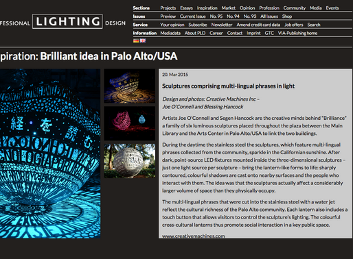 Brilliance has been featured on Professional Lighting Design!