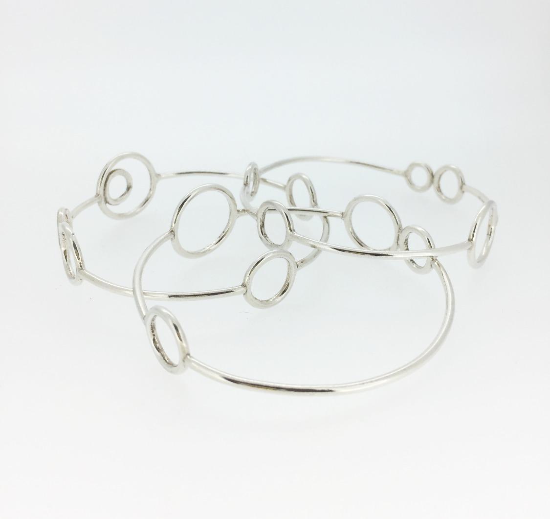 Circles silver bangles