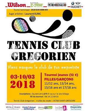 tounois jeunes hiver 2018 tennis club grégorien saint-grégoire rennes bretagne