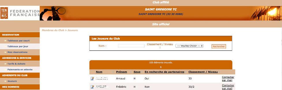 chercher partenaire loisir tennis club grégorien saint-grégoire rennes bretagne