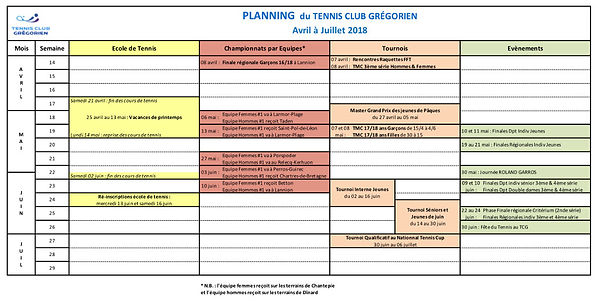 calendrier planning 2018 tennis club grégorien saint-grégoire rennes bretagne