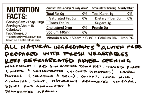 Mark's Good Stuff Restaurant Salsa Ingredients and Nutrition Facts