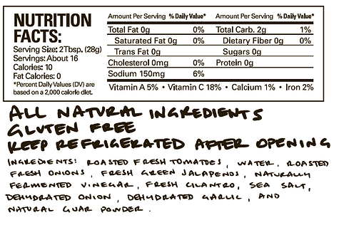 Mark's Good Stuff Roasted Salsa Ingredients and Nutrition Facts
