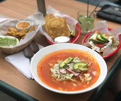 Today at la fogata bar and restaurant Mexican food pozole, flautas, tacos, tostadas de tinga , sopes