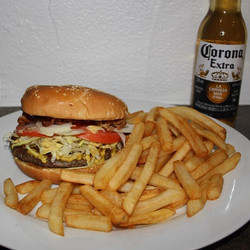 Tomorrow special...came and enjoy our delicious burger with french fries and one free beer for only