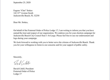 Endorsement from Fraternal Order of Police Lodge 17