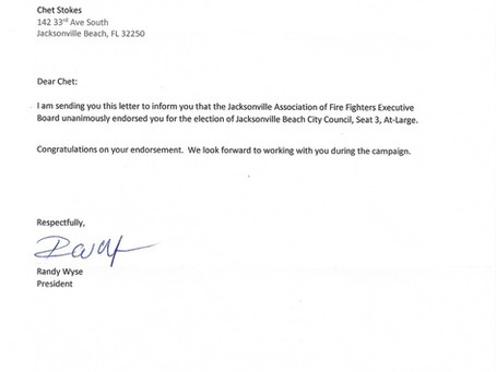Endorsement from Jacksonville Association of Fire Fighters