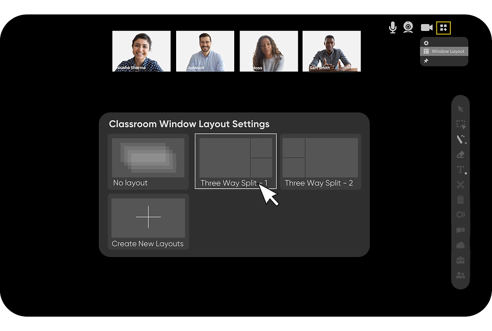 classroom window layout settings