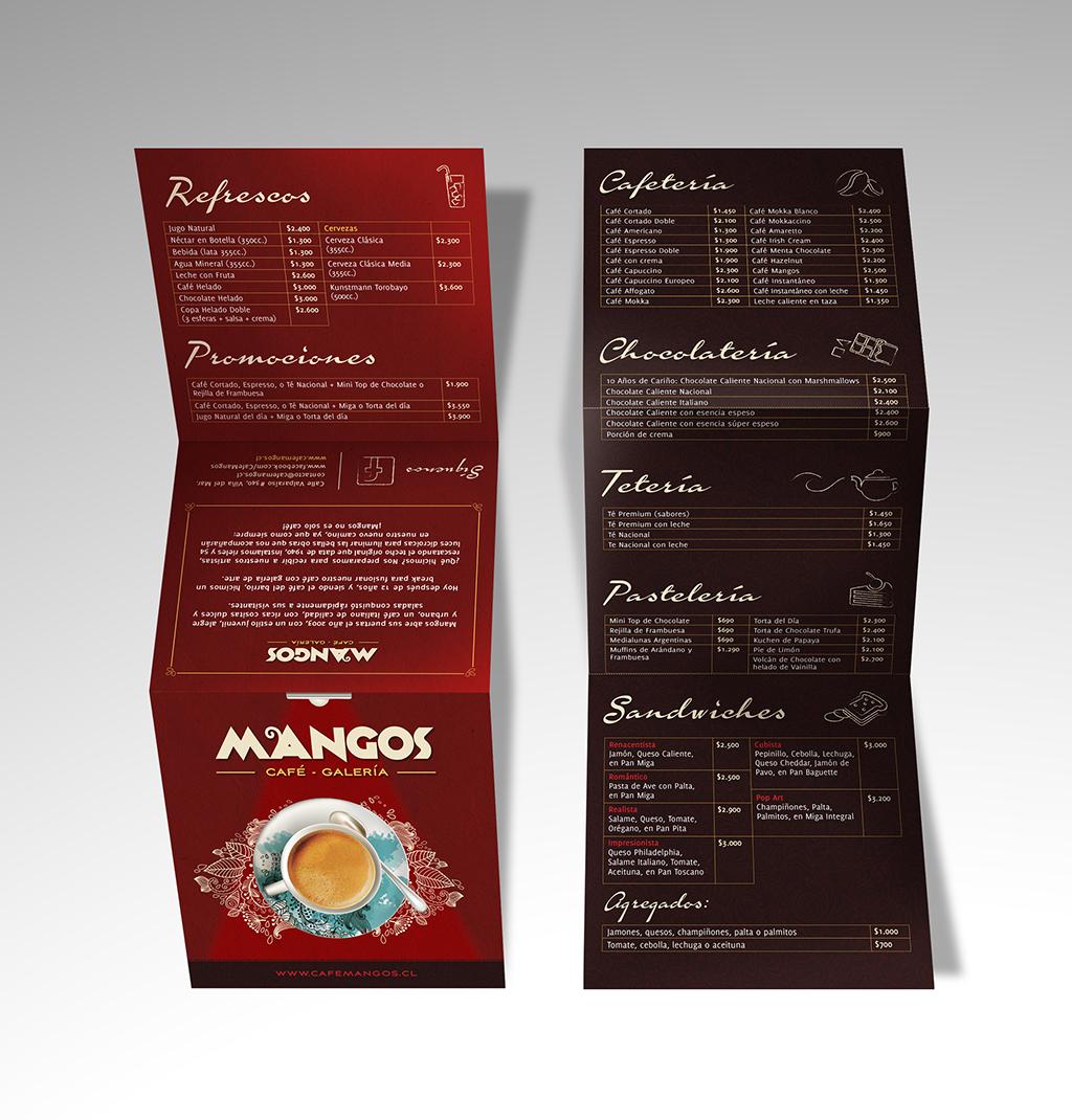 Carta Menú café mangos