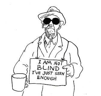 Drawing of man with sunglasses and begging cup.