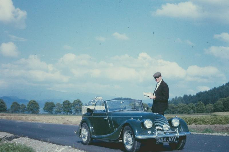 1963 Morgan DHC near the Hochosterwitx castle in Austria