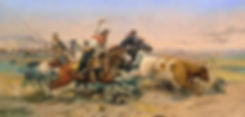 Wild West painting of cattle roundup