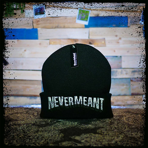Never Meant - Black Beechfield Embroidered Beanie