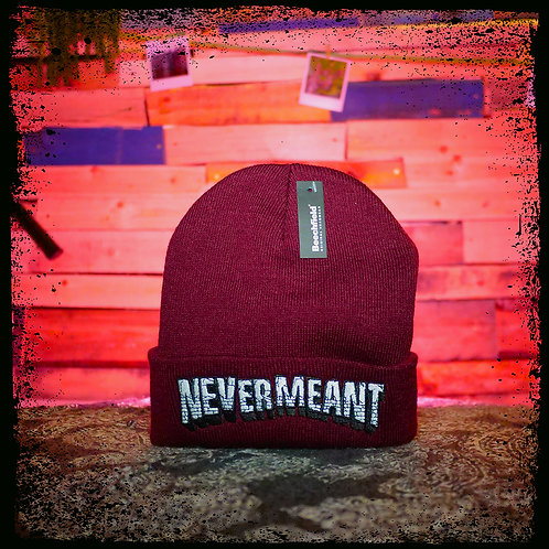 Never Meant - Maroon Beechfield Embroidered Beanie