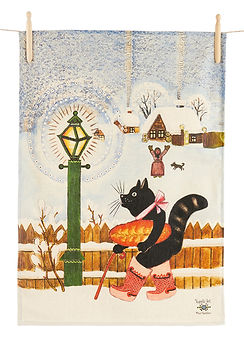 Black cat winter tea towel, Yuri Vasnets