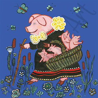 Mother Pig with Piglets Greeting Card.