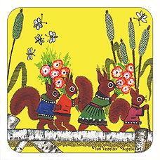 Squirrels on Yellow cork coaster UK, Yuri Vasnetsov