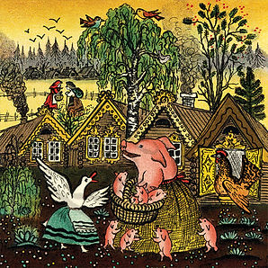 Village illustration card, Folk Rhyme, P