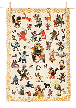 Tea towel Cats, cat lover gifts, black c