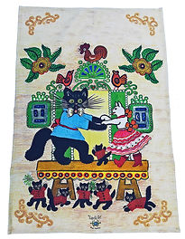 Cats towel, folk style tea towel, Yuri V