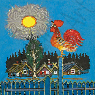 Rooster in the Morning Folk Art Card.