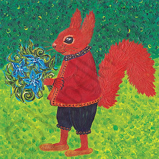 Red Squirrel card, Galina Pagliaro, pain