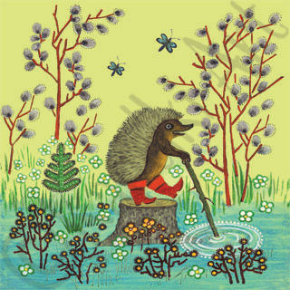 Little Hedgehog in Red Boots Card. Yuri Vasnetsov.