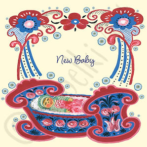 Baby Girl Card. Russian Folk Art.