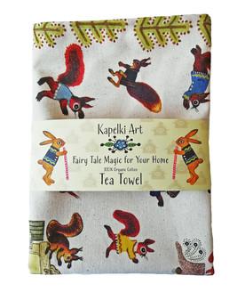 Squirrels Tea Towel Organic Cotton Uk Ma