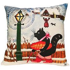 Christmas cushion, black cat cushion uk,