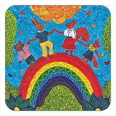 Animals on Colourful rainbow cork coaster, Made in the UK