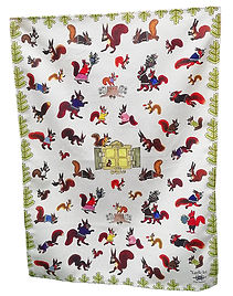 Red squirrels tea towel, thick towel, fu