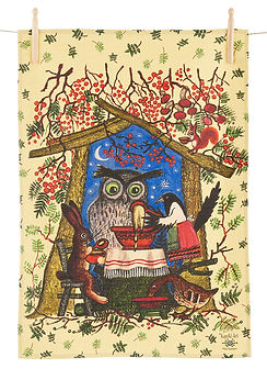 Woodland animals, Owl, magpie Russian ta