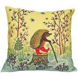 Hedgehog art cushion, nursery decor, cut