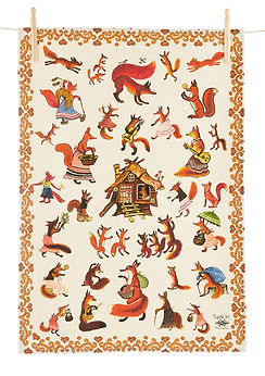 Animal art tea towel, red folk art kitch