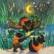 Bears Catching Moon Greeting Card. Yuri Vasnetsov. Kapelki Art.