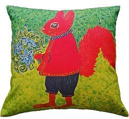 Red squrrel bright animal print cushion