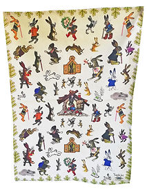 Bunnies Tea Towel Organic Cotton, Made in the UK