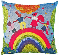 Bright colourful rainbow cushion cover u