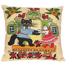 Cat cushion cover uk, folk art, yuri vas