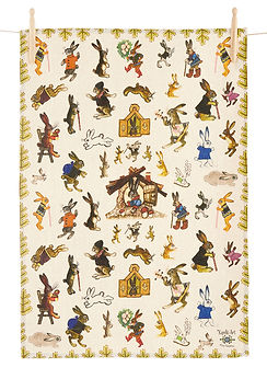 Kitchen towel, hares, bunnies, fairytale