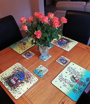 Colourful melamine tablemats. Folk Art. Easter. Yuri Vasnetsov.