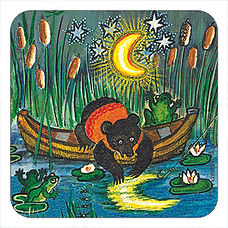 Bear and Moon cork coaster, Yuri Vasnetsov