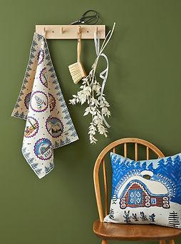 Christmas textile UK, Blue Christmas decoration, Festive winter home cushion tea towel 1.j
