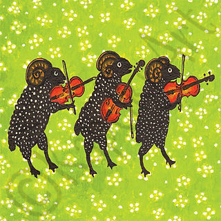 Black Rams Playing Violins Card. Yuri Vasnetsov.