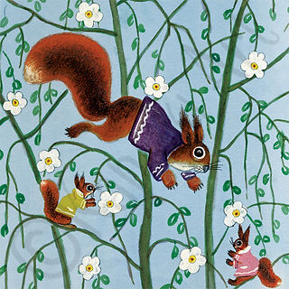 Springred squirrels in apple blossom car