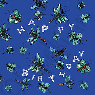 Dragonflies and Butterflies Blue Birthday Card