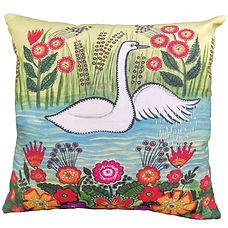 Colourful folk art cushion, white swan,