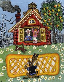 Yuri Vasnetsov illustrations log cabin G