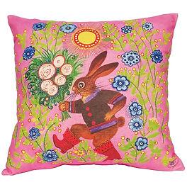 Cute bunny cushion, pink nursery decor,